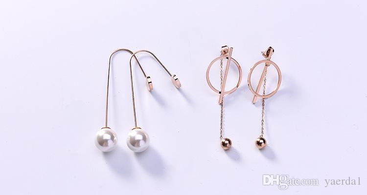New Korean geometric long titanium steel earrings female wholesale black plate letter rose gold ear line manufacturers kendra scott chain