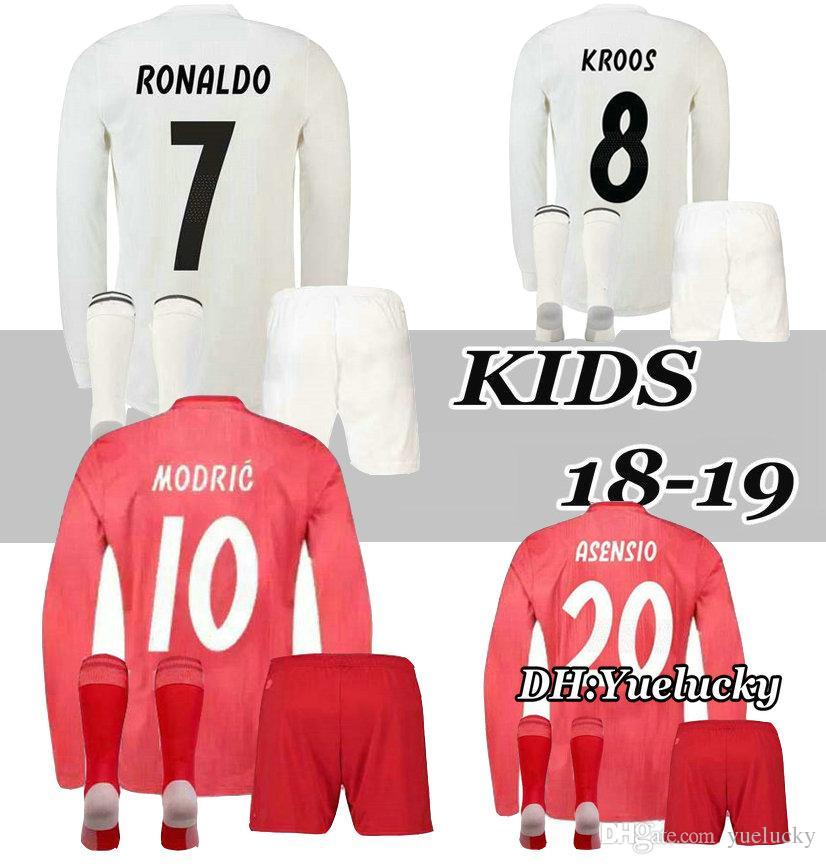 a29ed2c25 18 19 Long Sleeve Kids Real Madrid Jersey Home Soccer Kits RONALDO ...
