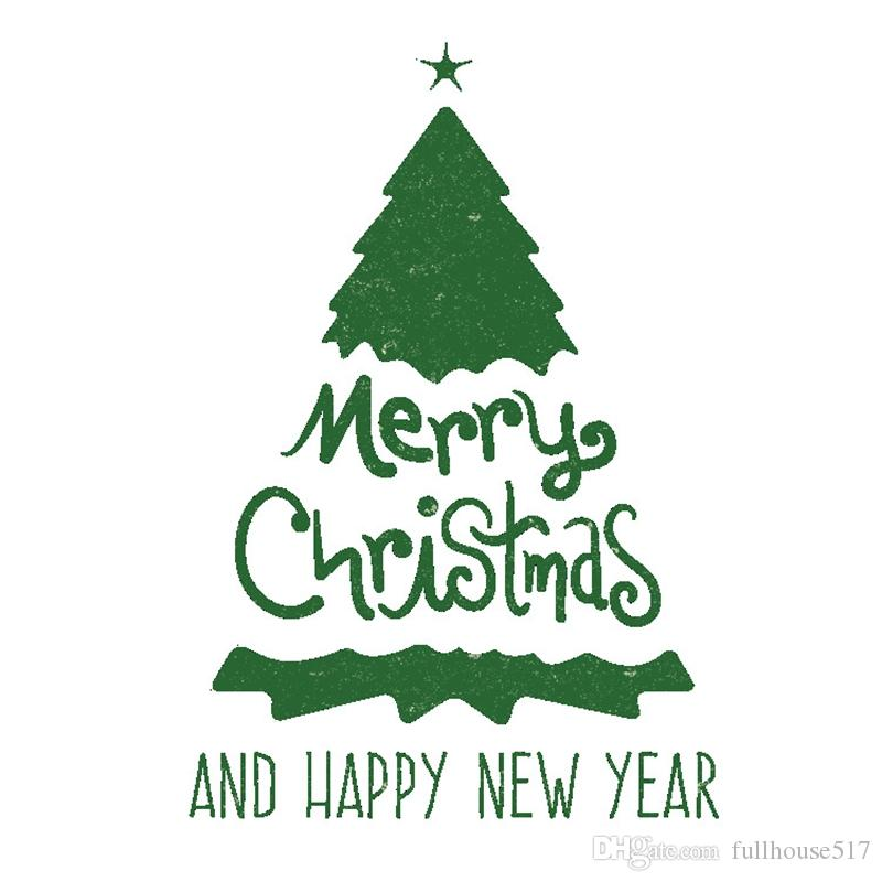 Green Merry Christmas Tree Wall Decal Happy New Year Quotes Wall Stickers for Holiday Living Room Window Shop Showcase Bedroom decor