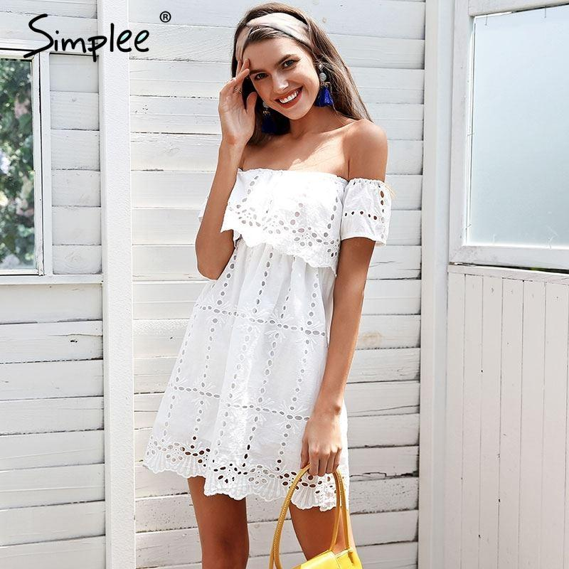 b32912136da0 Simplee Off Shoulder White Lace Dress Women Hollow Out Streetwear Casual  Dress Loose Short Summer Dress Female Vestidos 2018 Black Womens Dresses  Party And ...