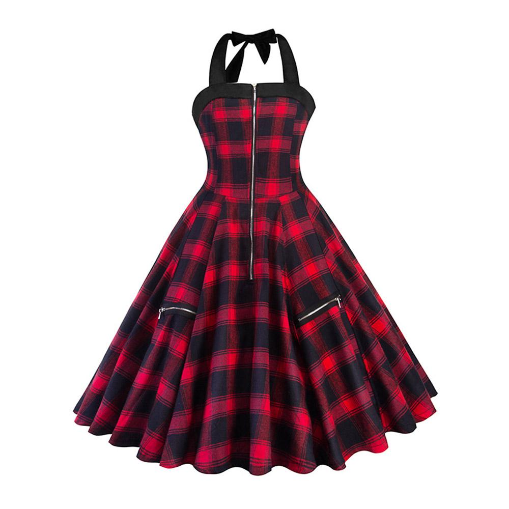 96c760e4df7 Women Red Plaid Summer Vintage Sexy Short Dress Rockabilly Lace Up Halter  Zipper A Line Party Street Lady Retro Mini Dresses Summer Dress Floral White  And ...