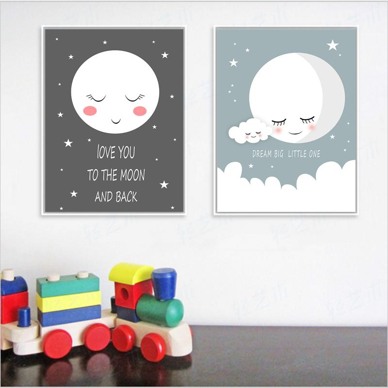 COLORFULBOY Sleep Moon Modern Wall Art Posters And Prints Dream Quotes  Canvas Painting Wall Pictures For Kids Room Home Decor UK 2019 From  Cosmose, ...