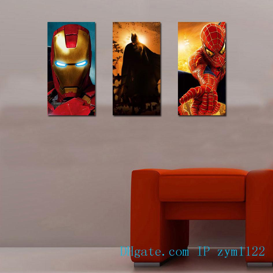 Ironman Batman Spiderman 3 Pieces Home Decor HD Printed Modern Art Painting on Canvas (Unframed/Framed)