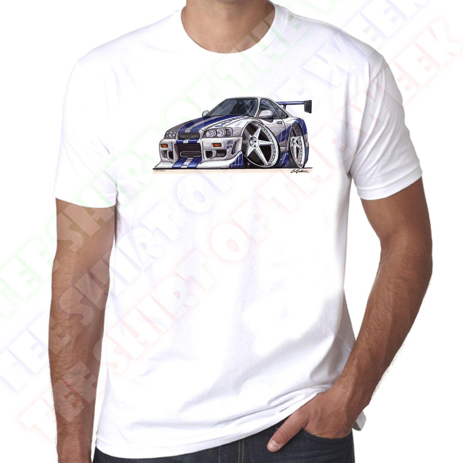 WickedArtz Cartoon Car Silver Blue Nissan Skyline Cotton White