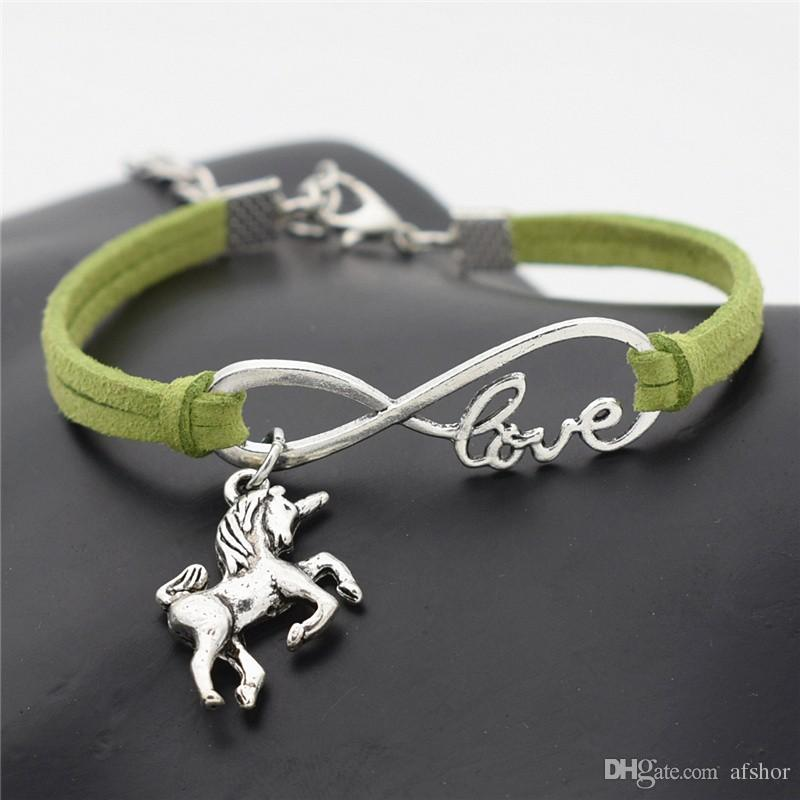 AFSHOR Nouveau Vintage Mignon Animaux Antique Argent Cheval Chanceux Licorne Charmes Infinity Amour Bracelet En Cuir Bracelets pour Femmes Cadeaux Accessoires