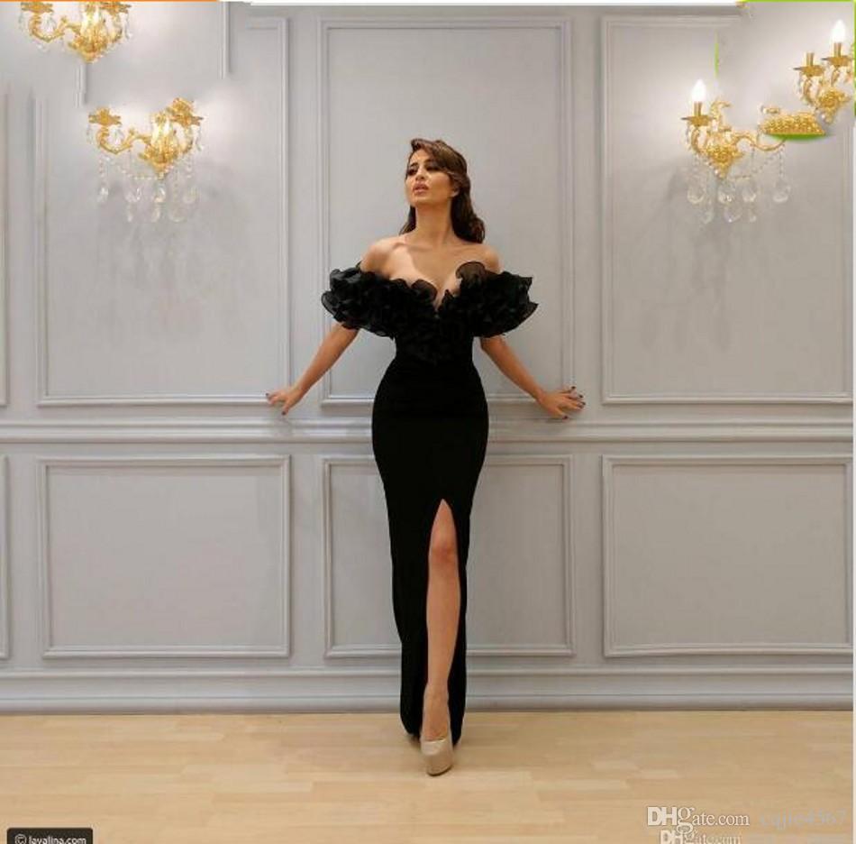 2020 Sexy Русалка Вечерние платья лодка -Плеча с кружевом аппликациями рукавом Труба Sheer Вечерние платья Бальные платья Платье De Noiva 60
