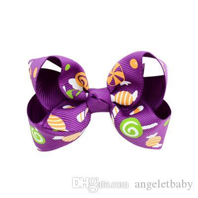3.15 inch Halloween Grosgrain Ribbon Bows With Clip Ghost Pumpkin Pinwheel Hair Clips Hair Pin Accessories HD751