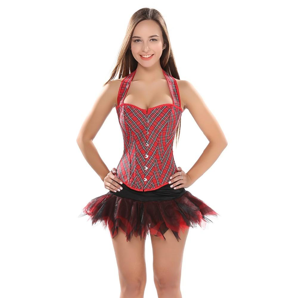 45f82ad51f76e Women Straps Red Grid Boned Overbust Corset Top Slim Body Shaper Halter  Neck Bustier With tutu Skirt Sexy Corset Dress