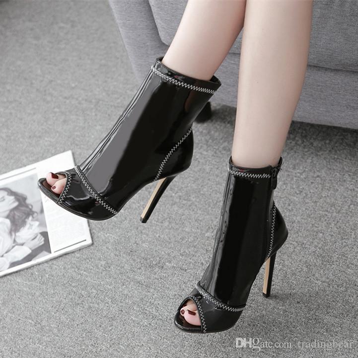 93cd407d Compre Moda Negro Blanco Costura Peep Toe Tacones Altos Patente PU ...