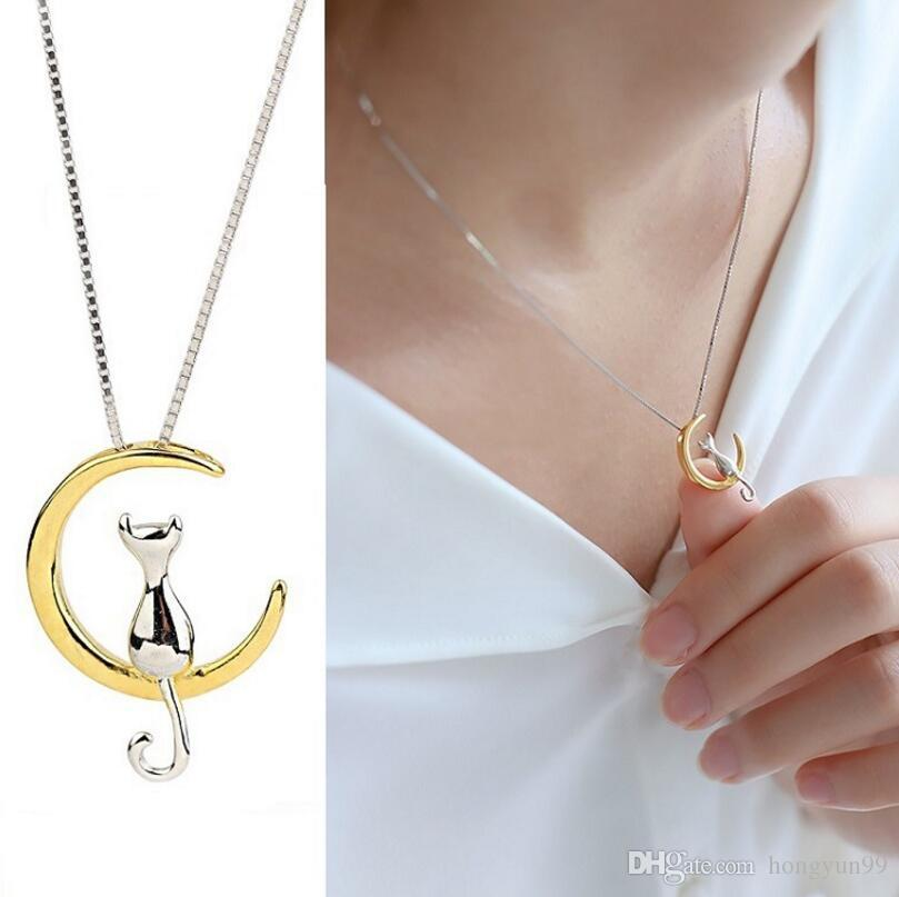 Wholesale fashion cat moon pendant necklace charm silver gold color wholesale fashion cat moon pendant necklace charm silver gold color link chain necklace for pet lucky jewelry for women gift shellhard heart necklaces gold aloadofball Choice Image