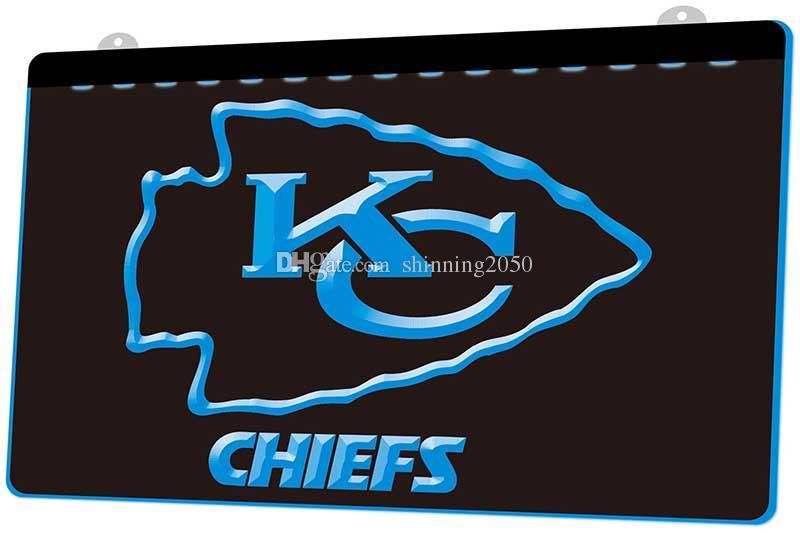 2018 Ls844 B Kansas City Chiefs Bar 3d Led Neon Light Sign Decor