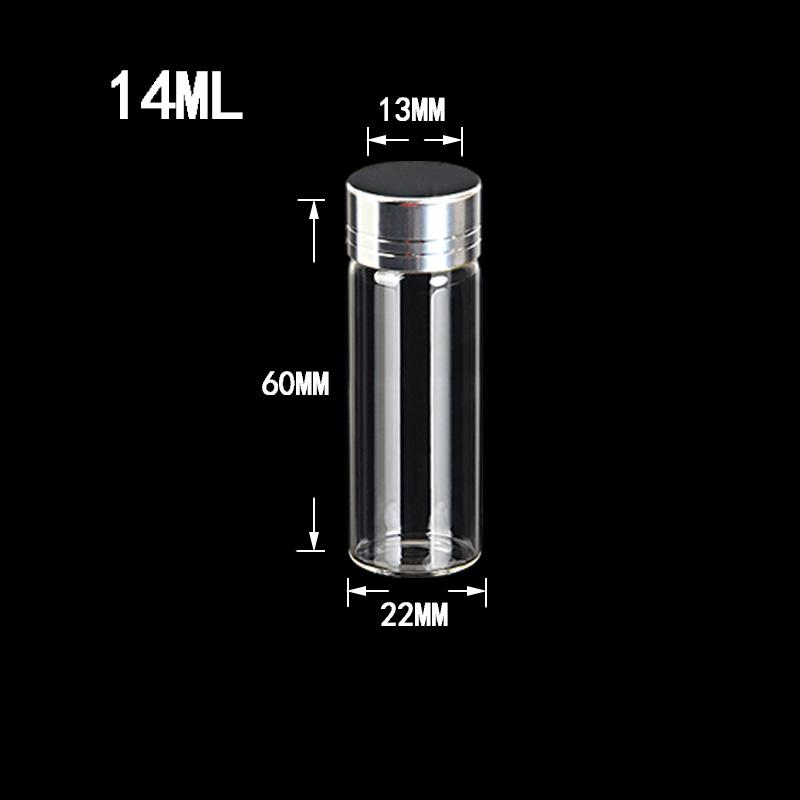 14ml Glass Bottles Screw Cap Silver Aluminium Lid Empty Glass Jars Vials Bottles Sealing up Skin Care Cream