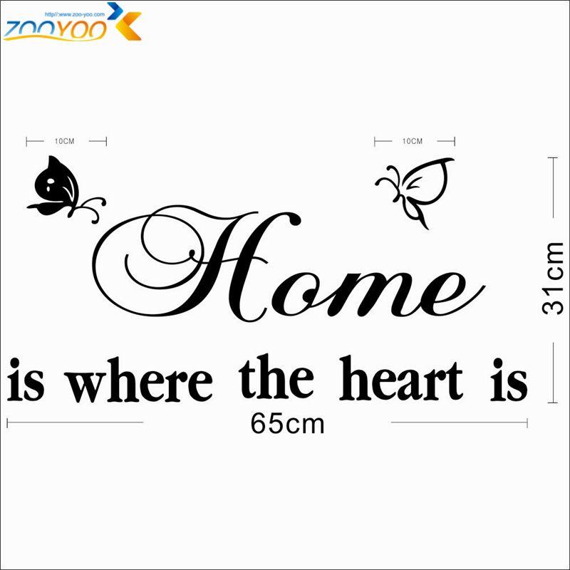 % la maison est où le coeur est citation stickers muraux diy adesivo de parede amovible vinyle stickers muraux décorations pour la maison salon