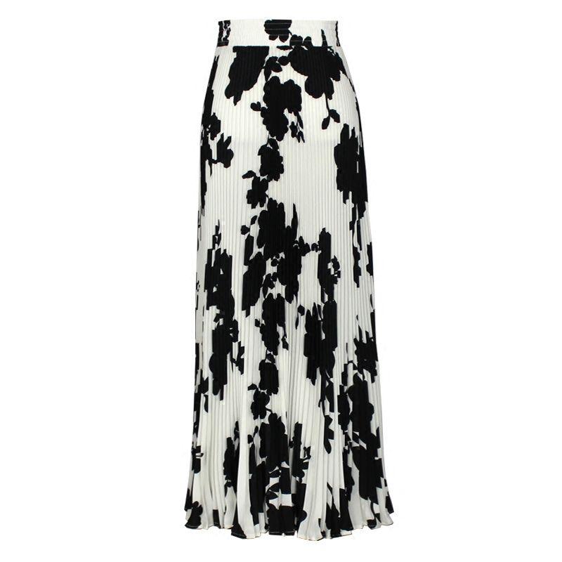 Women Fashion England Style Skirt Office Lady Mid-Calf Print Flower Pleated Skirt  2018 Spring Summer New Empire Slim 90cm Skirts Cheap Skirts Women Fashion  ... 8ba8fe85855b