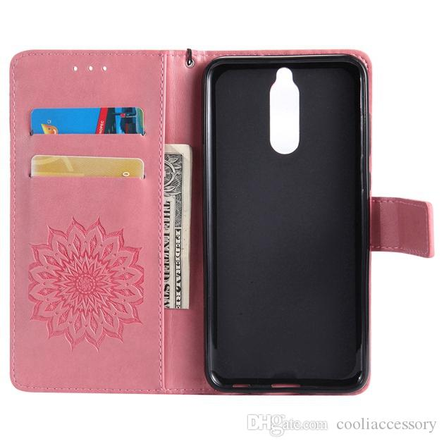 Sun flower Wallet Leather Pouch Case For Samsung Galaxy A8 2018 Huawei Mate 10 Lite ZTE Blade A110 Strap ID Card Stand TPU Skin Cover