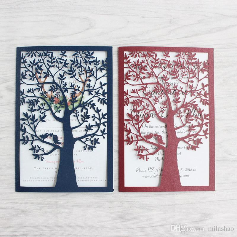 Tree Wedding Invitations Burgundy Navy Blue Laser Cut Universal Card