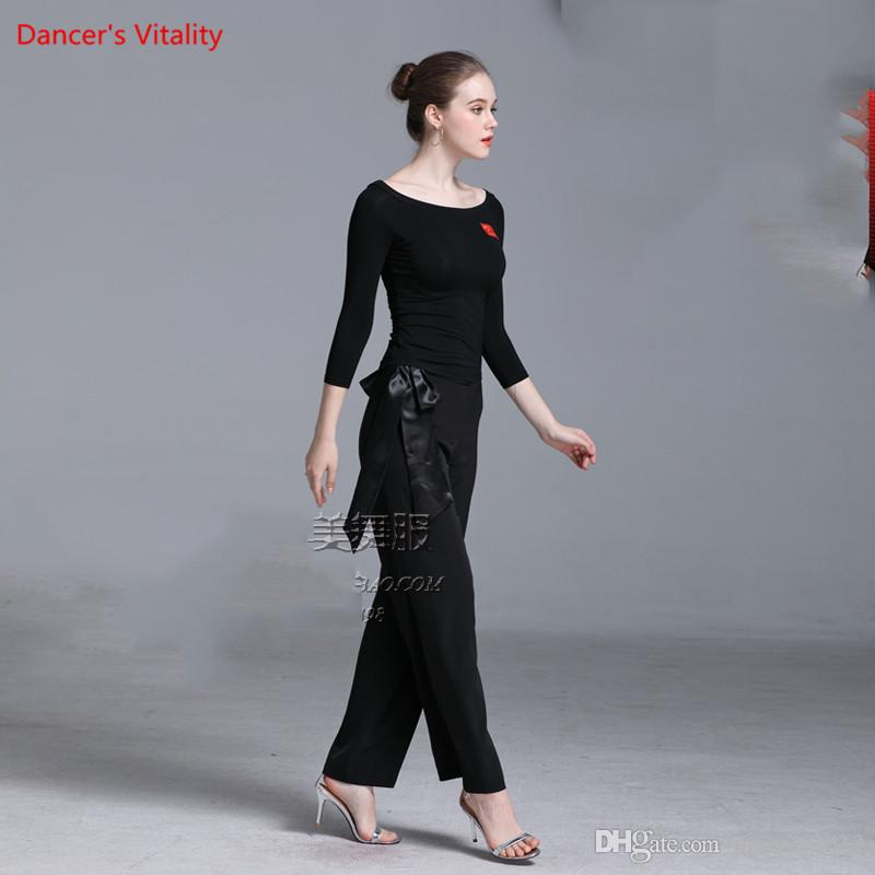 Winter Modern Dance Slim Fit Top Loose Pants Trousers with Ribbon Competition Performance Suit Women Ballroom Rumba Samba Jazz Foxtrot Sets