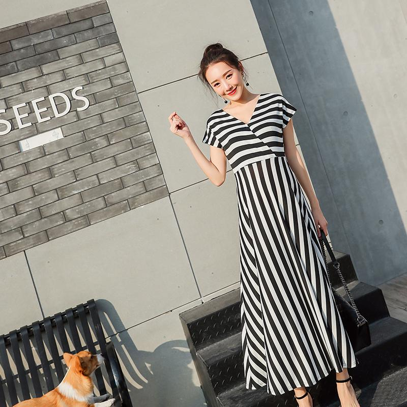 86dc29af002 2019 Across Deep V Neck Striped Maternity Maxi Long Dress Summer Nursing  Clothes For Pregnant Women Sexy Pregnancy Party Wear From Mingway245