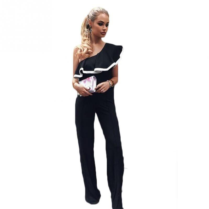 261e1b81ea1b Women Sexy Single Shoulder Falbala Collar Loose Pants Jumpsuit Bodysuit Cocktail  Suit Slim Fit Coveralls UK 2019 From Salom
