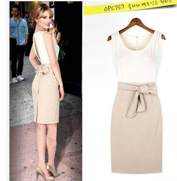 2018 Dress for Women Hollow Out Sleeveless Work Patchwork O Neck High Waist with Belt Summer Dress Suit Plus Size 1800634