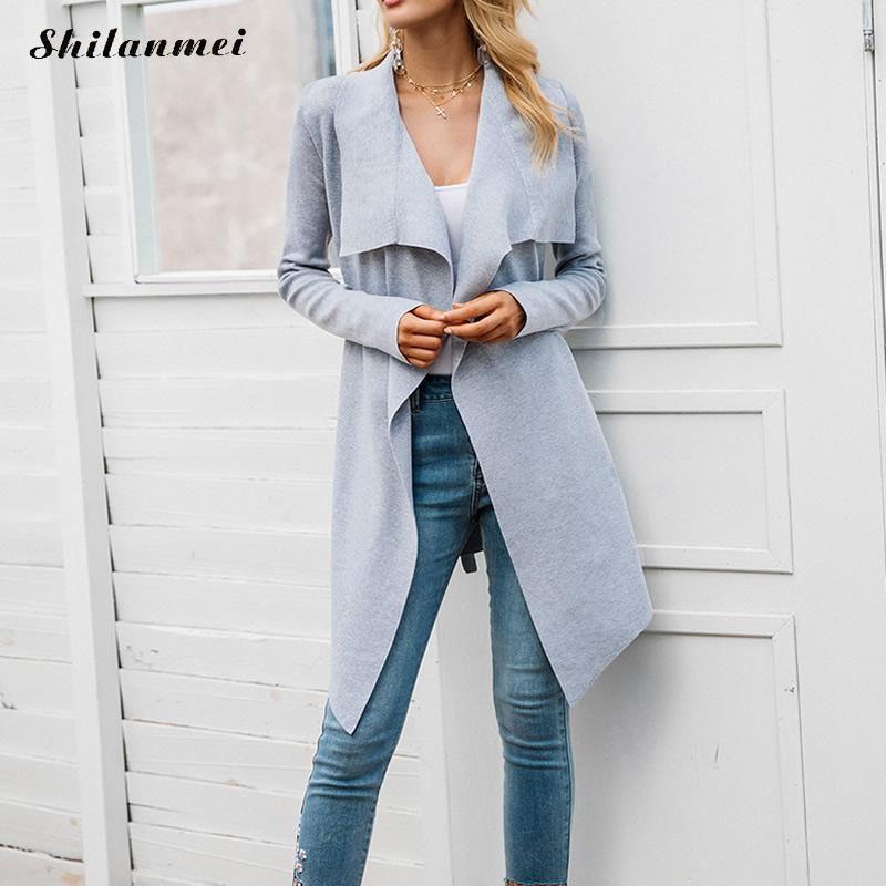 newest f9e2a 3bb8f Mode Herbst Büro Damen Elegante Pullover Strickjacken Langarm Mid Lange  Streetwear Frau Casual Grau Jacke Mantel