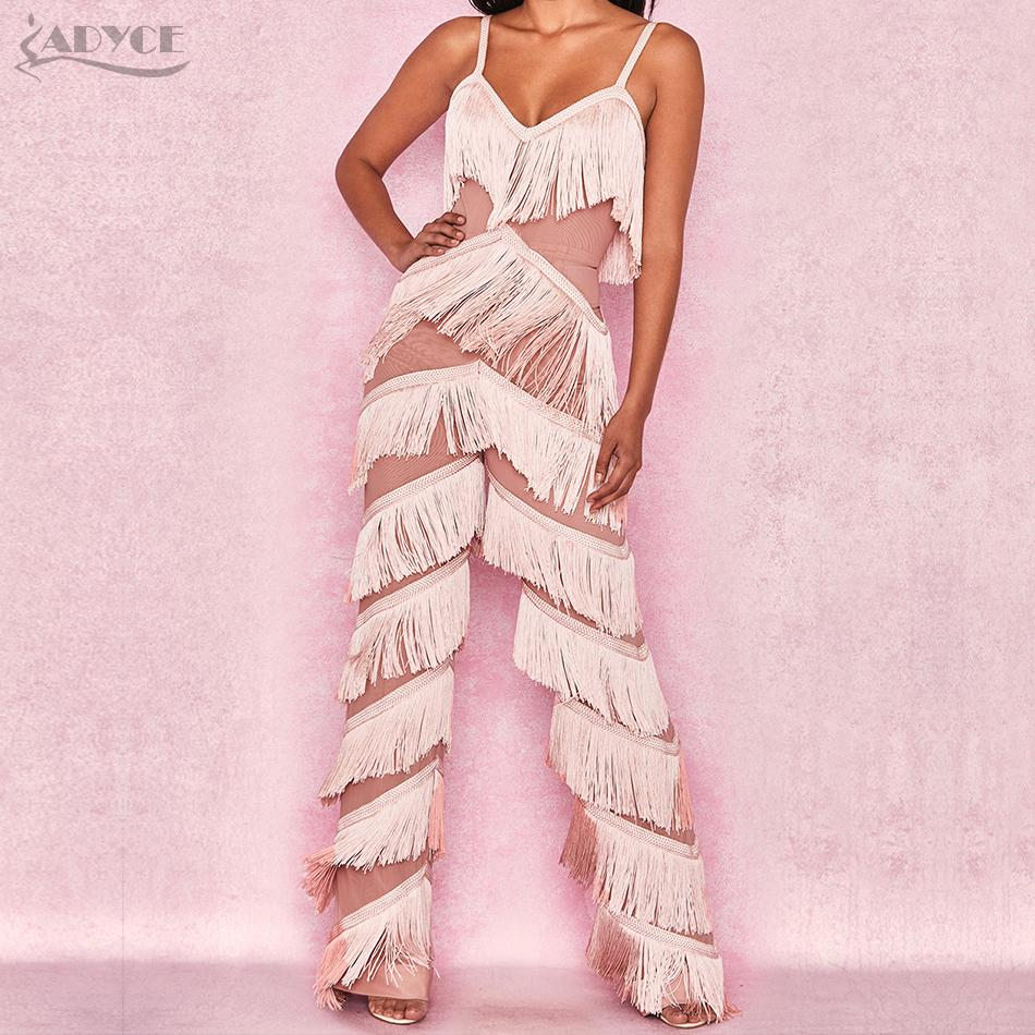 aa2702bae7a 2019 ADYCE 2018 New Summer Women Runway Bandage Jumpsuits Elegant Tassels  Fringe Lace Rompers Jumpsuit Sexy Bodycon Bodysuit Vestidos From Ruiqi03