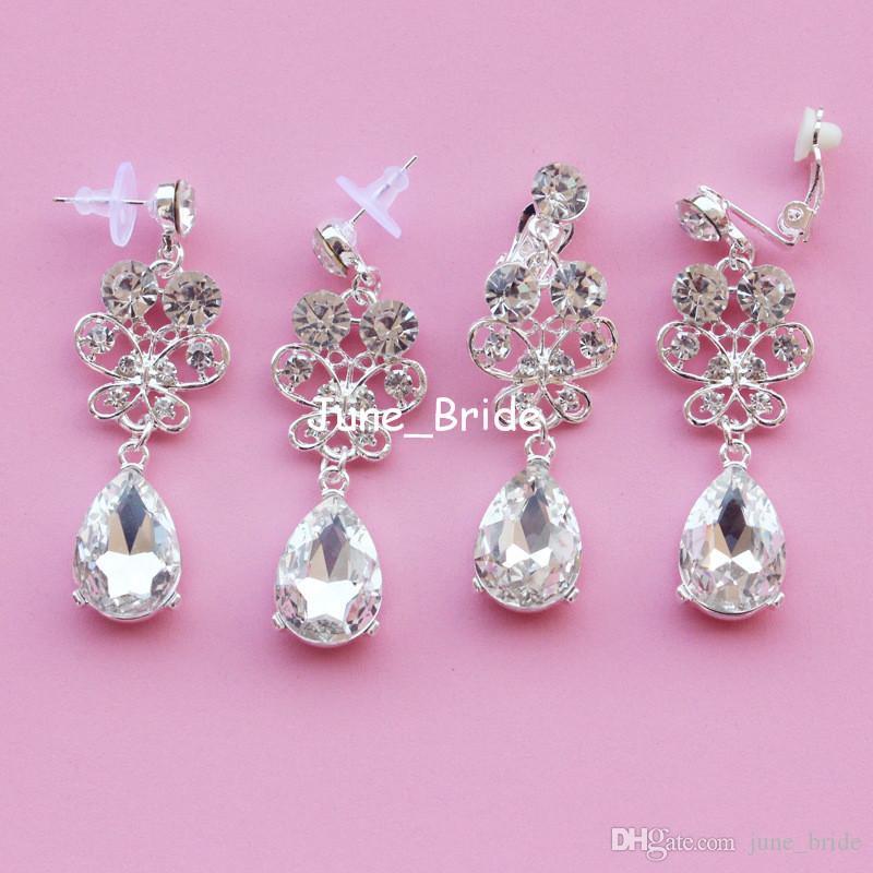 Bijoux de mariée papillon à la mode percés ou pince à oreille cristal clair mariée mariage soirée de bal soirée fête des oreilles décoration bijoux boucle d'oreille