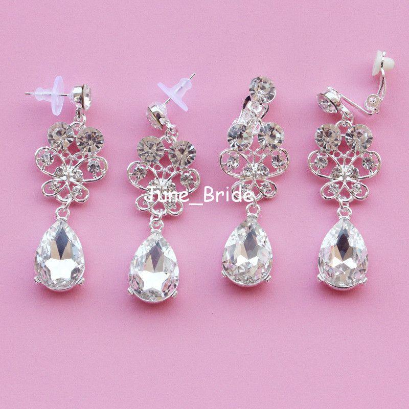 Moda nupcial mariposa oreja joyería perforada o orejera cristalina nupcial de la boda de noche fiesta de graduación oreja joyería pendiente pendiente
