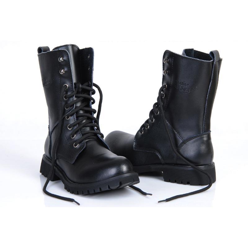 6b2dfeb58 Compre Hombres De Cuero Genuino Botas Militares Mujeres   Hombres De Montar  En Moto Caza Casual Zapatos Para Caminar Diseñador Martin Botas Hombre  Negro ...