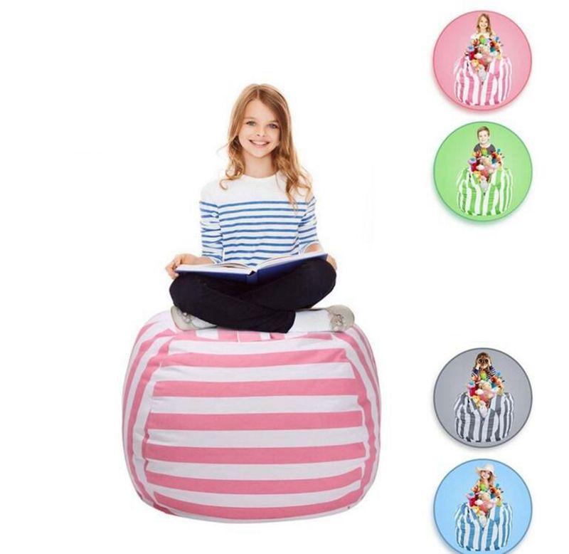 24 Inch 5 Color Storage Bean Bags Beanbag Chair Kids Bedroom Stuffed Animal  Dolls Organizer Plush