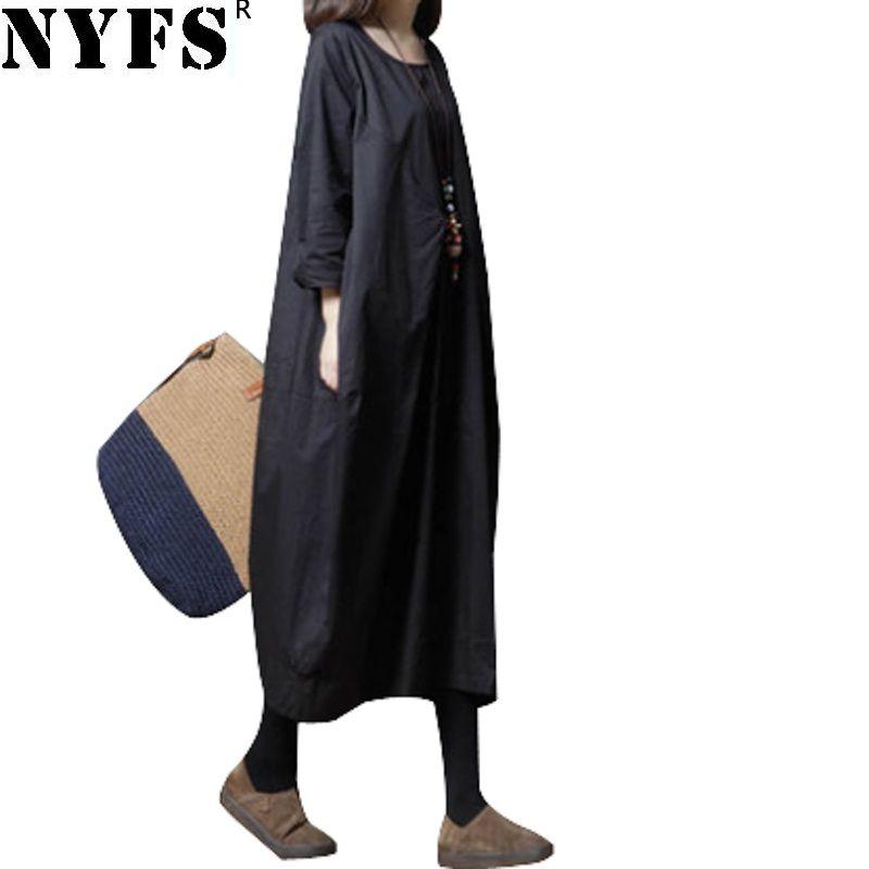 94d1773772 2018 Nyfs 2018 New Spring Autumn Women Dress Vintage Cotton Linen Dresses  Loose Stylish Comfortable Long Dress Vestidos Robe From Longmian