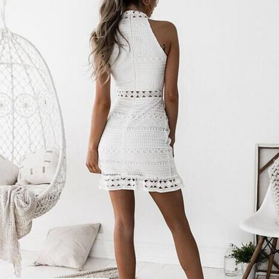 FeiTong Turtleneck Bodycon Lace Dress Women Hollow Out Casual Dress White 2018  Summer Style Short Dress Female Sexy Vestidos D1891703 Dress For Ladies  Dress ... aa13ea52f94a