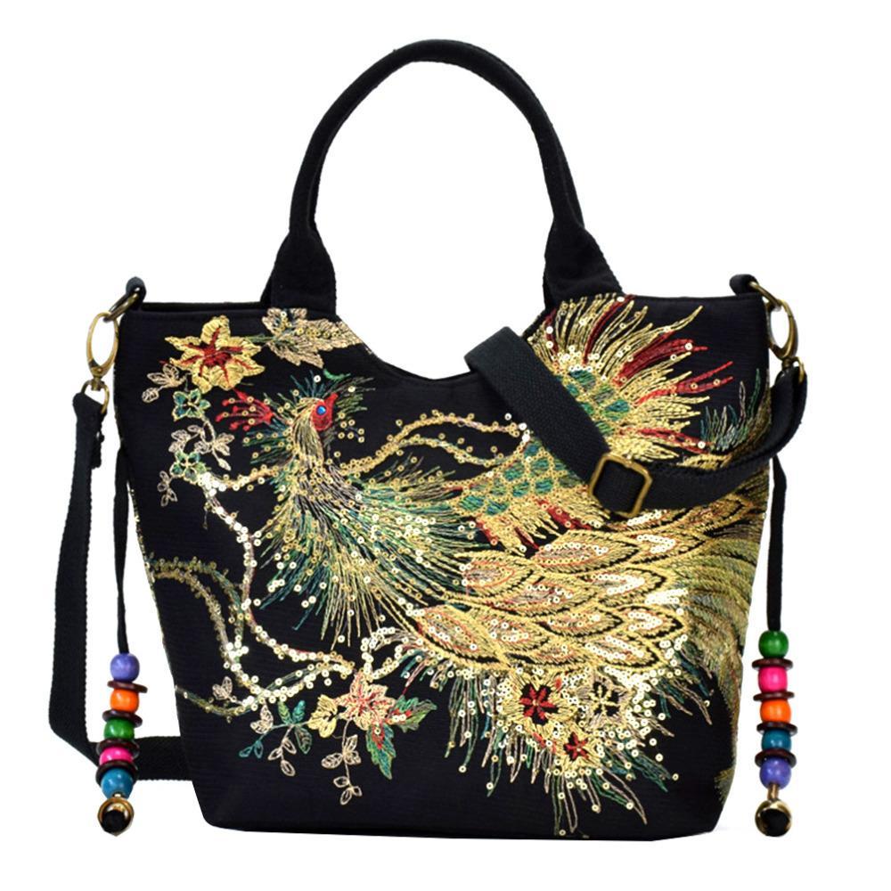 4c555d51185d 2019 Fashion Vbiger Women Canvas Shoulder Bag Peacock Embroidery Handbag  Stylish Tote Bags Casual Cross Body Bag With Decorative Pendants Ladies  Purse ...