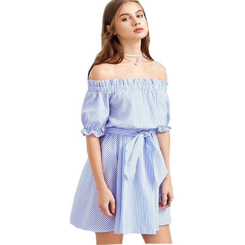 5cf85759ada5d New Fashion Mini Dress Slash Neck Summer Dress 2018 Sashes Above Knee Women  Dresses Big Girl Cute Dress Vestidos A-Line Dresses For Womens