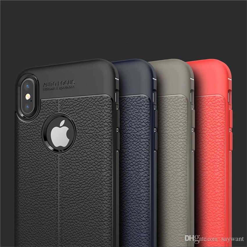 Mode-Telefon-Kästen für iPhone 11 Pro Max 6 6S Plus-Note 9 S10 weichen TPU Silikon-Kasten Anti Slip Leder Textur Abdeckung