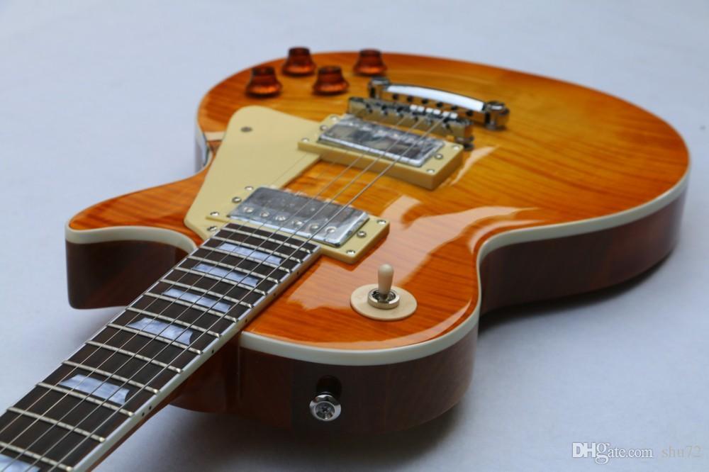 Instrumentos musicais OEM Chinês OEM 1959 R9 Tiger Flame guitarra Elétrica, uma peça padrão pescoço OEM guitarra, Frete grátis2018