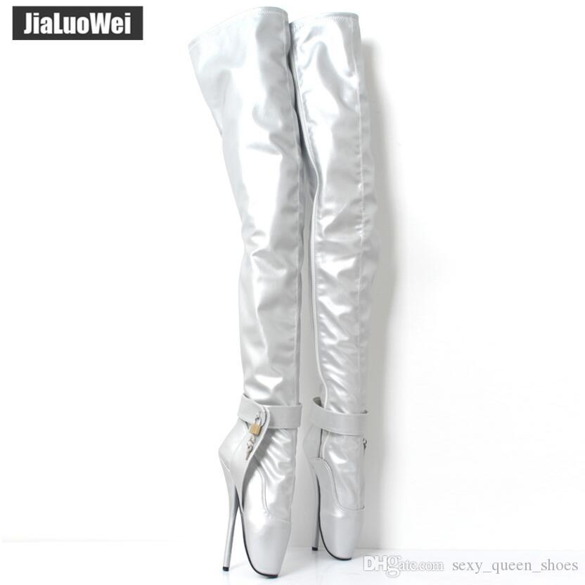 """Extreme high thin heel 18cm/7"""" Women thigh high boots sexy crotch boot patent leather fashion show Man cosplay ballet shoes gold silver"""