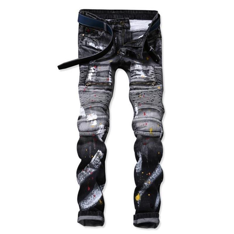 3b6ec12279ed 2018 Winter Jeans Männer High Street Motor Biker Herren Jeans Hosen Schwarz  Grau Farbe Mode Marke Farbe Inkjet Homme