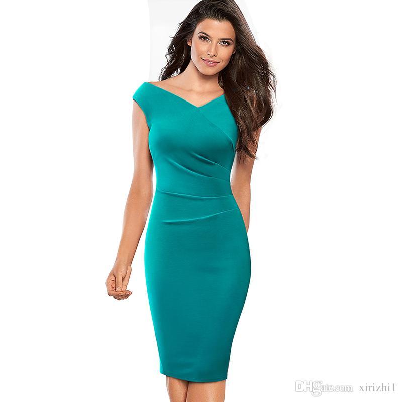 f1d027490acae Satın Al Yaz Yeni Varış Seksi Kalem Elbise Mavi V Yaka Ince Kadın Giyim  Kulübü Parti Kısa Kollu İmparatorluğu Bodycon Elbise Siyah, $31.66 |  DHgate.Com'da