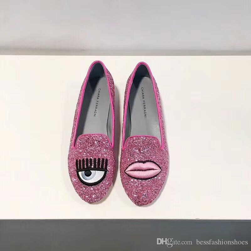 e34f8c2a Compre Chiara Ferragni 2018 Bling Glitter Pop 'n Dog Slip On Zapatillas De  Ballet Zapatillas Planas De Primavera Para Mujer Soltera En Plata Negro  Rosa ...