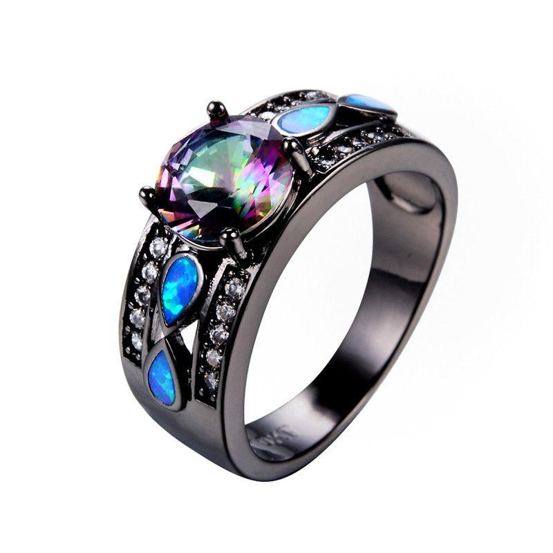 f233783ab5 Fashion Blue Fire Opal Ring Bohemian Rainbow AAA Zircon Rings Black ...
