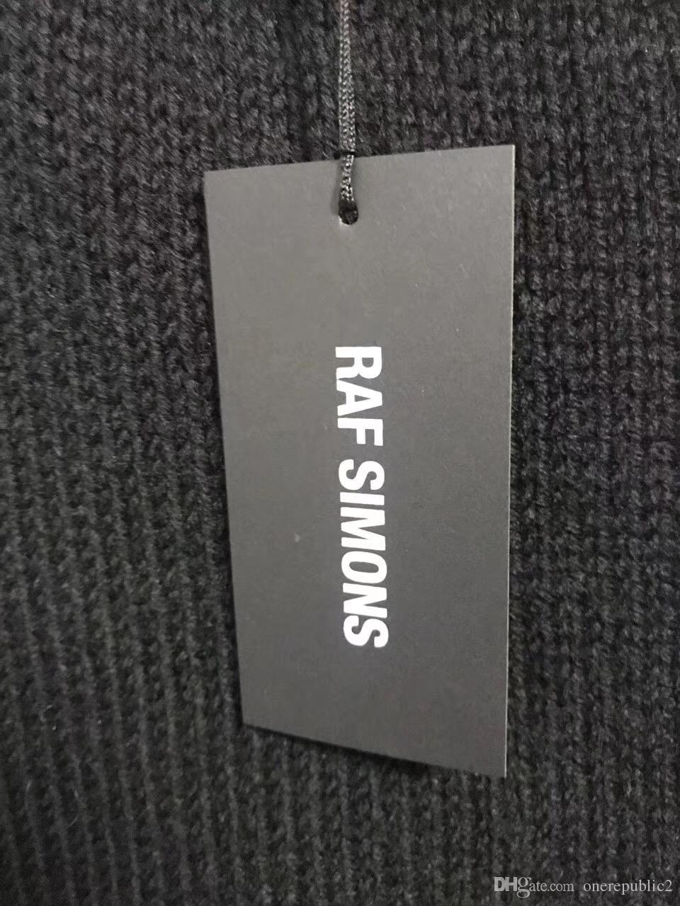 2018 nuevos Raf simons Suéter de gran tamaño sudaderas con capucha Hombres Mujeres Unisexual Pocket Knit Shirt Moda Negro Manga Larga Envío Gratis 888