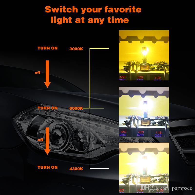 높은 품질 Z5 H11 H7 H4 led 전구 50W 5800LM 자동차 키트에 대 한 램프를 주도 삼색 3 색 LED 헤드 라이트 3000K 4300K 6000K