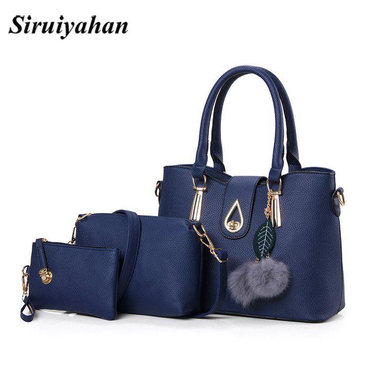 b04a067f72f9 Women Pu Handbags 2018 Ladies Shoulder Bag Female Casual Tote Women  Messenger Bag Set Bolsas Feminina Crossbody Sac A Main Leather Purse Womens  Purses From ...