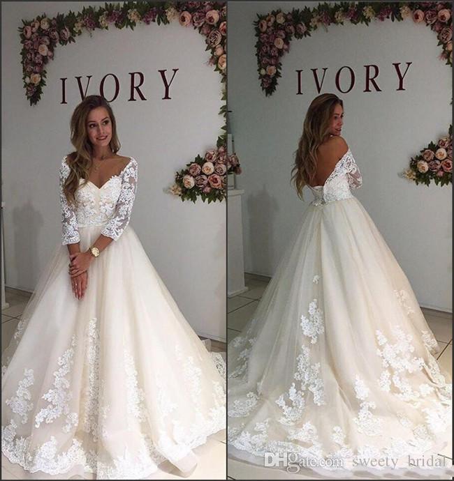 2018 Vintage Wedding Dresses A Line Off Shoulder 34 Long Sleeve