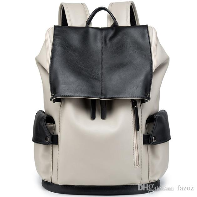 c628bad87180 Male PU Leather Backpack Contrast Color Multi Pocket Water Resistant ...
