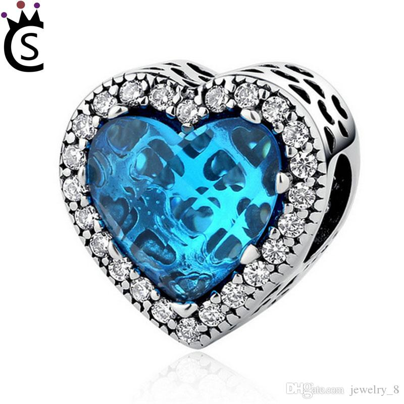 100% 925 Standard Sterling Silver Blue Love Beaded Romantic Boutique ... 85f3aeefa07c