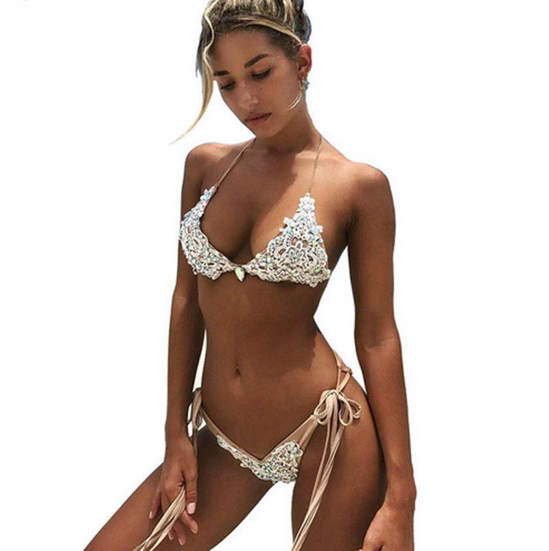 Bandage Lace Bikini set mulheres Sexy 2018 New verão cristal Swimwear Push up Sutiã Maiô Vintage Monokini Beachwear maiô