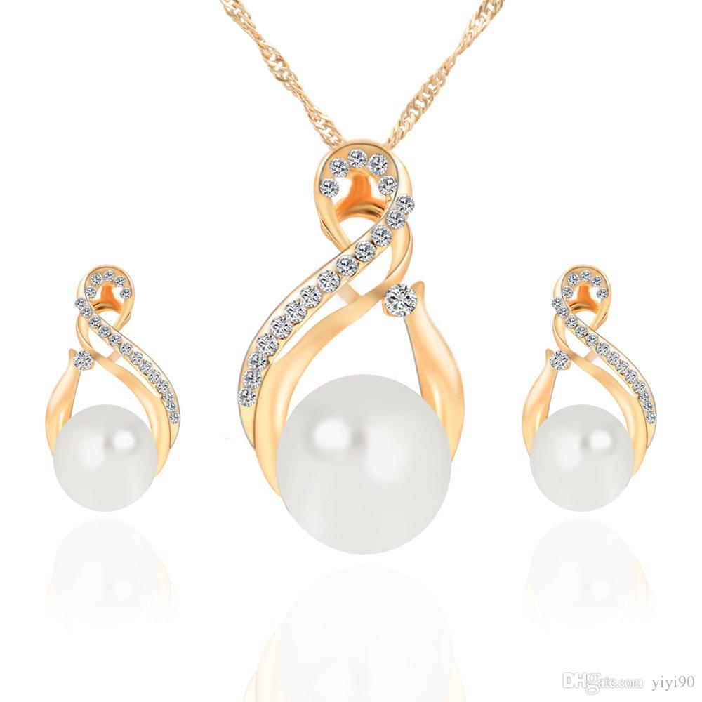 New Ball faux Pearl Rhinestone Necklace Earrings Gold Plated Jewelry sets Women Girl's Wedding Gift Jewelry