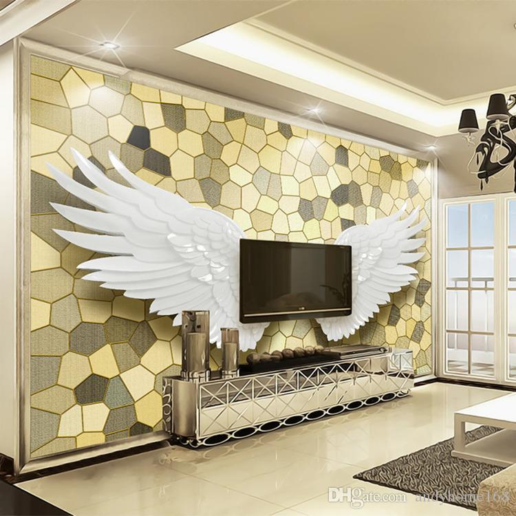 Custom Photo Wall Paper 3D Relief Angel Wings Mosaic Wall